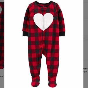 NWT Carter's Red Plaid Heart Fleece Footie - 4T